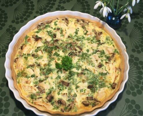 Tærte med champignon og kylling