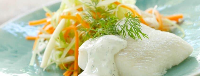 Hellefisk med grøntsager julienne
