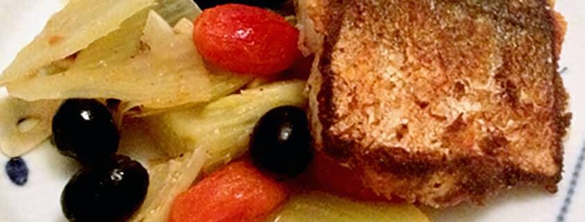 Kulmule med fennikel, tomater og oliven
